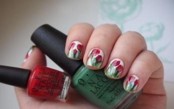 Маникюр тюльпаны с фото